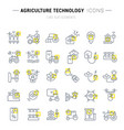 set line icons agriculture technology vector image vector image