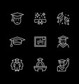 set line icons graduation vector image