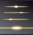 set of golden transparent lines effect with sparkl vector image
