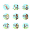 set of multicolor romance icons vector image