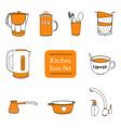 set of orange kitchen icons vector image vector image