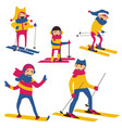 set with happy family skiing isolated on vector image