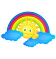 sun in clouds and rainbow vector image