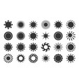sun silhouette cartoon icon set black sunlight vector image