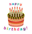 sweet birthday cake with eleven burning candles vector image