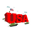USA letters 3D Patriotic artwork military in vector image vector image