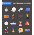Volleyball icons set Flat style design Cup vector image