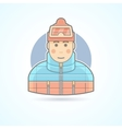 Warm dressed man snowboarder skier icon vector image vector image