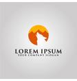 wolf logo mountain landscape design concept vector image