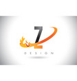 z letter logo with fire flames design and orange vector image vector image