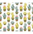 cactus hand-drawn seamless pattern grunge vector image
