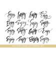 enjoy handwriting calligraphy set hand drawing vector image