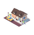 3d isometric small cafe with parked car vector image vector image