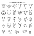Animal heads in thin line style icons set vector image vector image