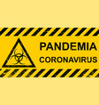 banner pandemic coronavirus sign hazard on a vector image