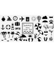 black and white summer travel or vacation beach vector image vector image