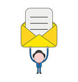 businessman character holding up opened mail vector image