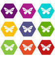 butterfly with stripes on wings icons set 9 vector image vector image