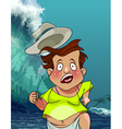 cartoon man with a hat runs from the giant tsunami vector image vector image