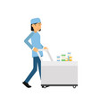 cartoon medical worker pushing serving trolley vector image