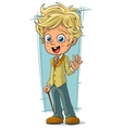 Cartoon pretty young blond boy vector image vector image