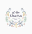 christmas greetings hand drawn sketch wreath vector image vector image