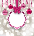 Christmas Paper Card with Bow Ribbon and Balls vector image