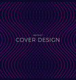 dark blue abstract cover design with glowing wavy vector image vector image