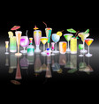 different alcohol cocktail vector image vector image