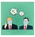 donald trump meet xi jinping wearing healthy mask vector image vector image