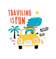 driver dinosaur for t-shirt vector image vector image