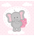 elephant with bouquet of roses on cloud vector image vector image