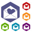 envelope with valentine heart icons set hexagon vector image vector image