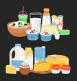 farm dairy products vector image