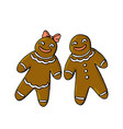 gingerbread man and woman isolated on white vector image vector image