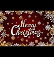 gold merry chrismas snowflackes lettering perfect vector image vector image