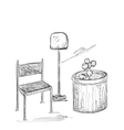 Hand drawn room interior Chair and lamp vector image vector image