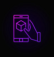hand holding smartphone with cube inside purple vector image