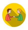 Handshaking of businessmen icon in flat style vector image vector image