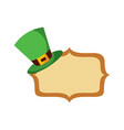 hat of leprechaun with vintage board blank vector image vector image