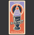 ice cream dessert retro poster vector image