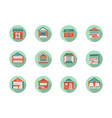 kiosk and marquees round flat color icons vector image vector image