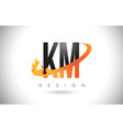 km k m letter logo with fire flames design and vector image vector image