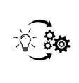 light bulb with gear and circulating arrows icon vector image