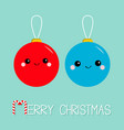 merry christmas ball toy icon set funny smiling vector image