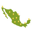 mexico map with pins vector image vector image