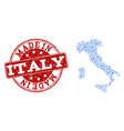 mosaic map of italy with wheel links and made in vector image