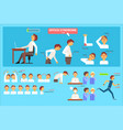 office syndrome infographics wrong sitting in the vector image