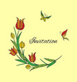 orange tulip invitation with butterfly vector image vector image
