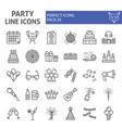 party line icon set celebration symbols vector image vector image